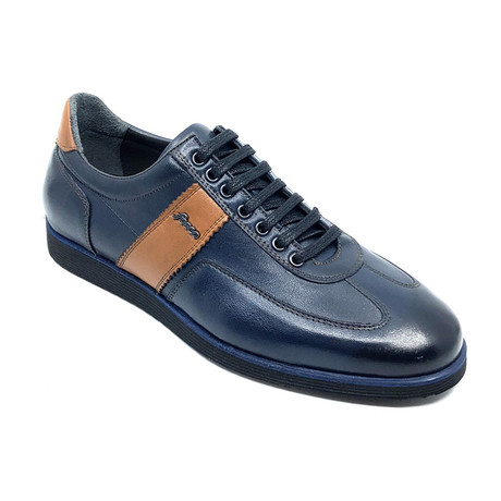 Bradley Low Top Sneakers // Navy Blue + Brown (Euro: 39)