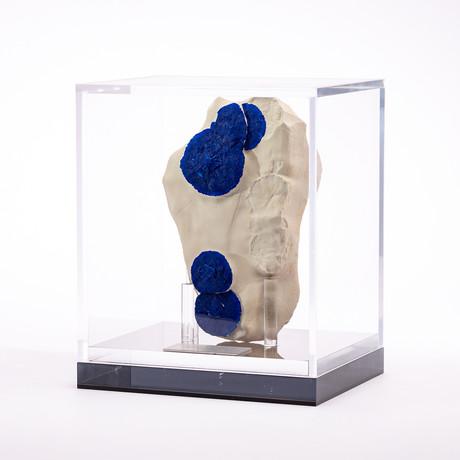 Australian Blue Azurite Sun + Acrylic Box