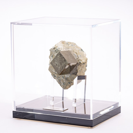Natural Pyrite Cube from Spain + Acrylic Box