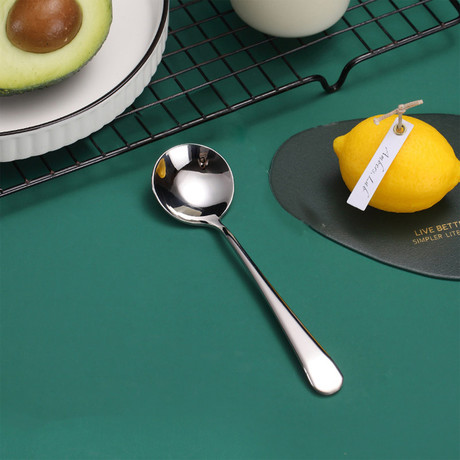 4 Piece Dessert Spoon Set // Silver
