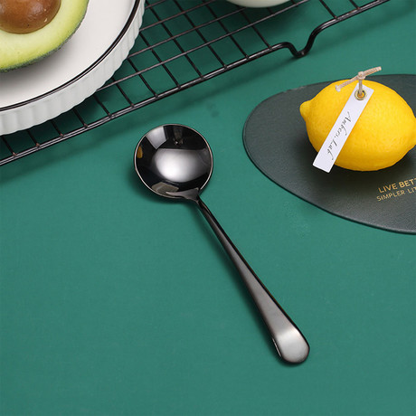 4 Piece Dessert Spoon Set // Black