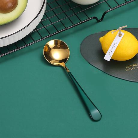 4 Piece Dessert Spoon Set // Gold + Green