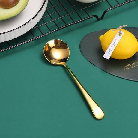 4 Piece Dessert Spoon Set // Copper