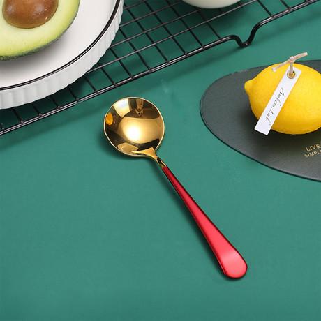 4 Piece Dessert Spoon Set // Gold + Red