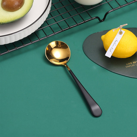 4 Piece Dessert Spoon Set // Gold + Black