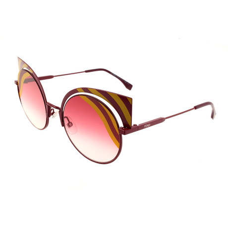 Women's 0215 Round Cat Eye Sunglasses // Matte Yellow + Burgundy