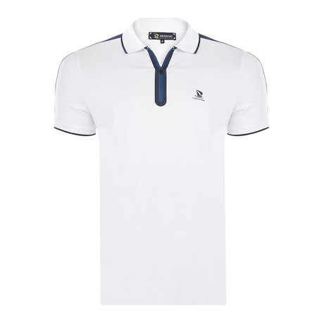 Arthur Short Sleeve Polo Shirt // White + Navy (S)