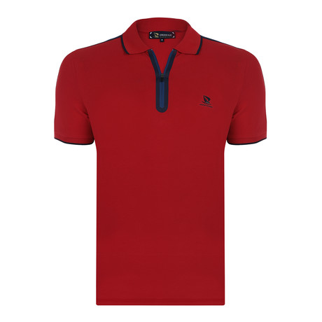Harry Short Sleeve Polo Shirt // Red + Navy (S)