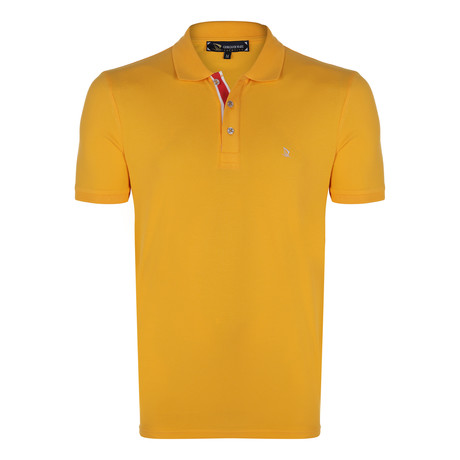 Peter Short Sleeve Polo Shirt // Mustard + Ecru (S)