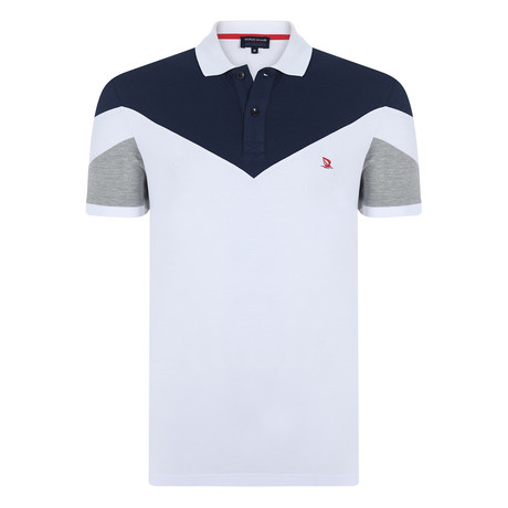 Charlie Short Sleeve Polo Shirt // White + Navy (S)