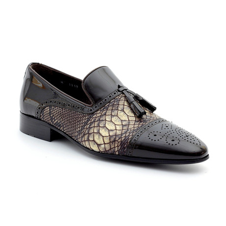 Fortino Loafers // Brown + Snake (Euro: 39)