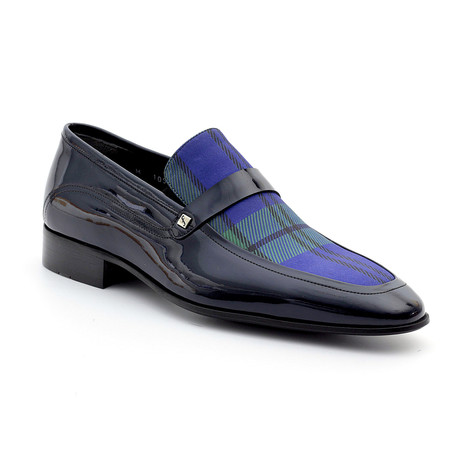 Jed Loafers // Navy Blue + Blue Plaid (Euro: 39)