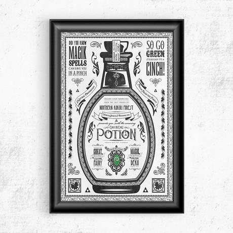 "Zelda // Vintage Green Potion Advertisement (11""W x 17""H)"
