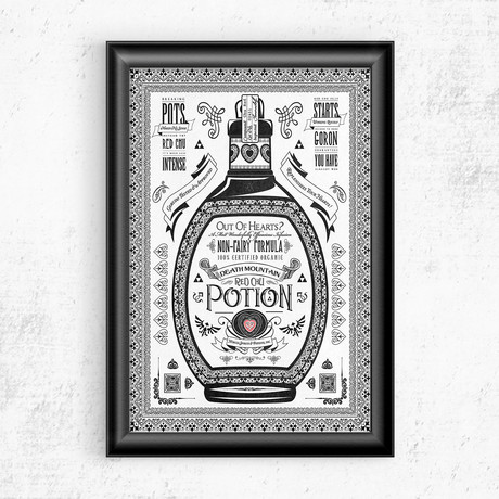 "Zelda // Vintage Red Potion Advertisement (11""W x 17""H)"