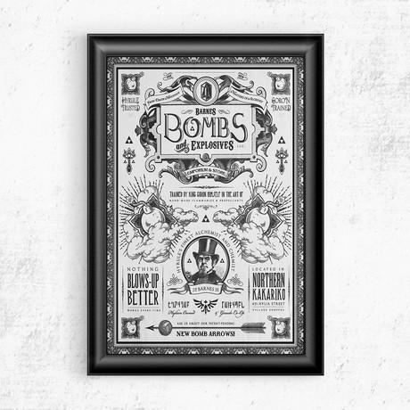 "Zelda // Barnes Bombs and Explosives Vintage Advertisement (11""W x 17""H)"