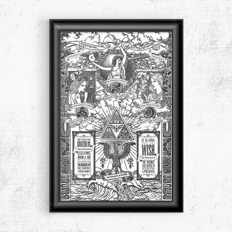 "Zelda // Kingdom of Hyrule Vintage Print (11""W x 17""H)"