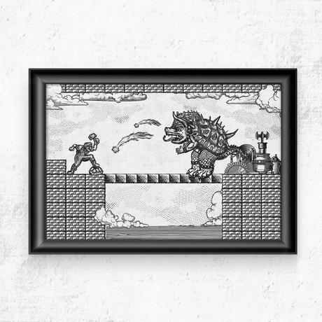 "Super Mario // Vintage Final Boss Battle Print (11""W x 17""H)"