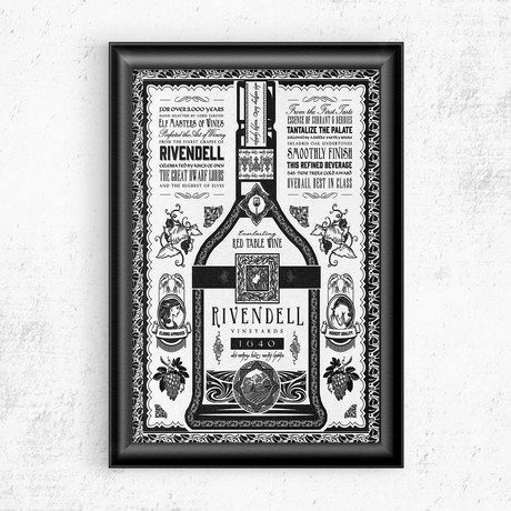 """Lord of the Rings // Riverdale Wine Vintage Advertisement (11""""W x 17""""H)"""