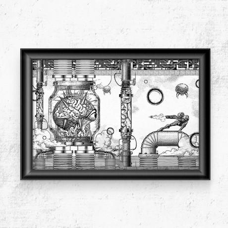 """Metroid // Vintage Final Boss Battle Print (11""""W x 17""""H)"""