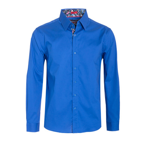 Royal Solid Cotton-Stretch Long Sleeve Shirt // Royal (S)