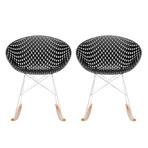 Smatrik Rocking Chair // Set of 2 (White Seat + Oak Wood Legs)
