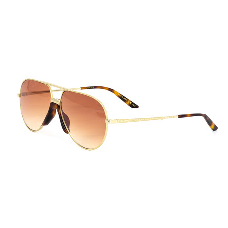 Women's Aviator Shape Sunglasses // Gold