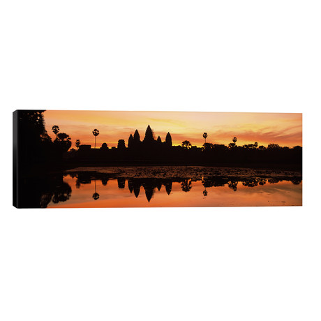 """Silhouette of a temple, Angkor Wat, Angkor, Cambodia // Panoramic Images (60""""W x 20""""H x 0.75""""D)"""