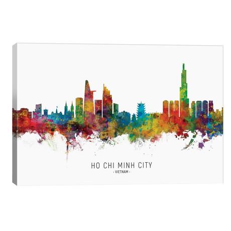 "Ho Chi Minh City Vietnam Skyline Name // Michael Tompsett (40""W x 26""H x 1.5""D)"