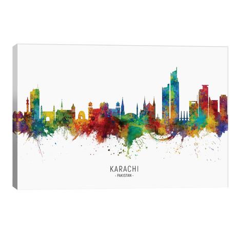 "Karachi Pakistan Skyline // Michael Tompsett (40""W x 26""H x 1.5""D)"