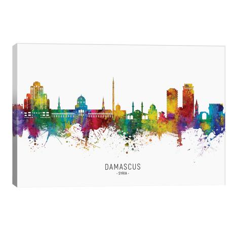 "Damascus Syria Skyline // Michael Tompsett (40""W x 26""H x 1.5""D)"