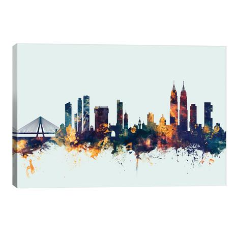 "Mumbai (Bombay), India On Blue // Michael Tompsett (40""W x 26""H x 1.5""D)"
