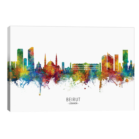 "Beirut Lebanon Skyline // Michael Tompsett (40""W x 26""H x 1.5""D)"