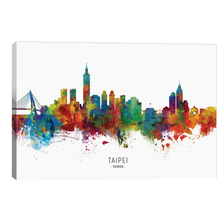 "Taipei Taiwan Skyline // Michael Tompsett (40""W x 26""H x 1.5""D)"