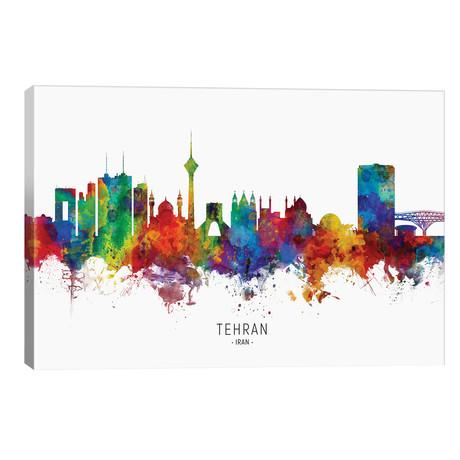 """Tehran Iran Skyline // Michael Tompsett (40""""W x 26""""H x 1.5""""D)"""