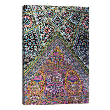 "Iran, Shiraz, Nasir-Al Molk Mosque, Exterior Tilework // Walter Bibikow (26""W x 40""H x 1.5""D)"