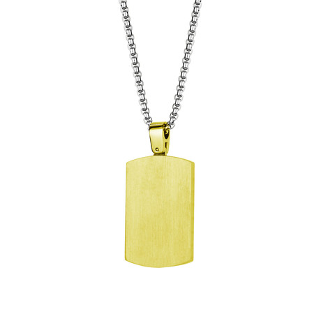 Matte Polished Reversible Dog Tag Necklace // Gold Plated