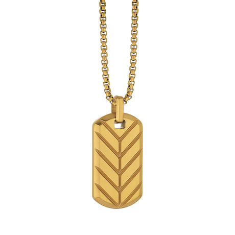 Reversible Chevron Dog Tag Necklace // Gold Plated