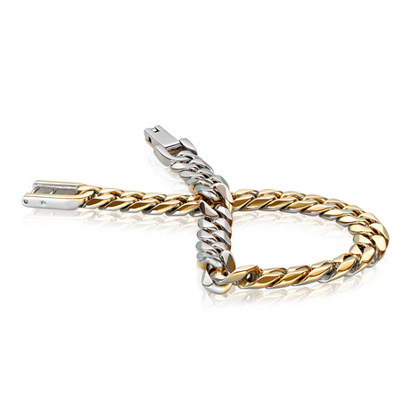 Reversible Curb Polished Bracelet // Gold Plated