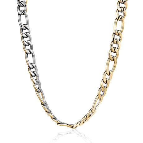 Polished Reversible Figaro Chain // Gold Plated