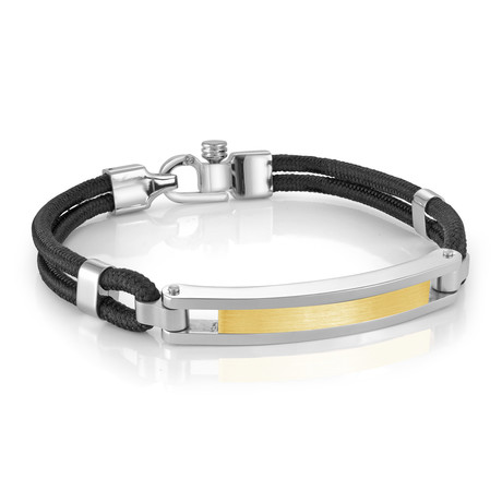 Brushed ID Plate Bracelet // Black + Gold (XS)