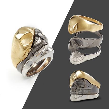 3-Piece Skull Ring // Gold + Black + Silver (10)