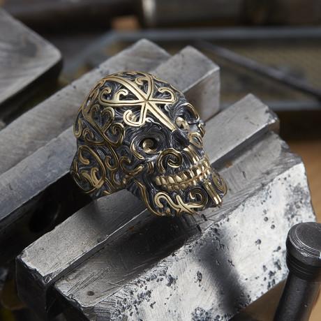 Big Skull Ring // Black + Gold (10)