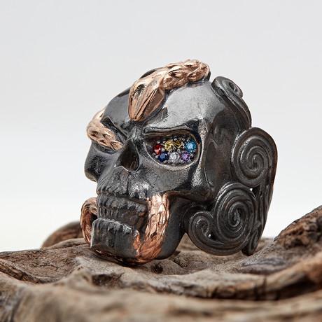 Skull + Snake Ring // Black + Rose (10)