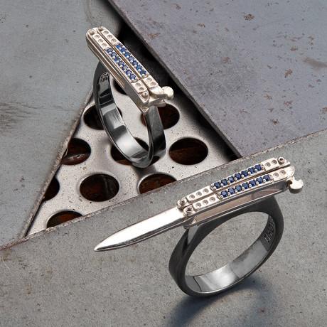 Knife Ring // Black + Silver (10)