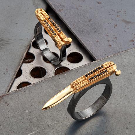 Knife Ring // Black + Gold (10)