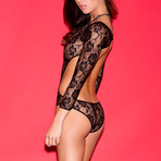 Rocking Rose Floral Lace Cut-Out Teddy // Black
