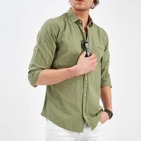 Textured Button-Up Shirt // Khaki (S)