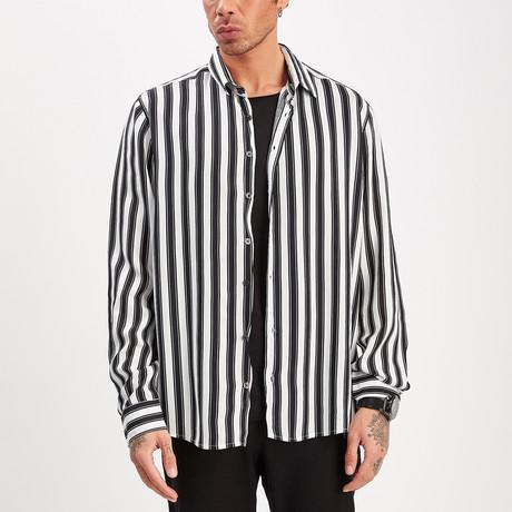 Striped Button-Up Shirt // Black + White (S)