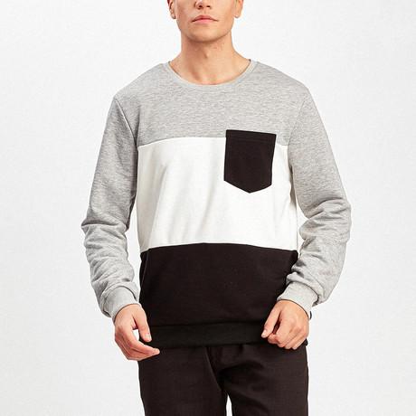 Color Block Pullover // Gray + Ecru + Black (S)