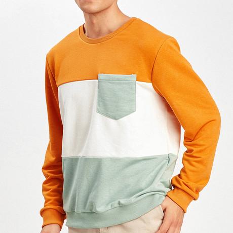 Color Block Pullover // Mustard + Ecru + Mint (S)